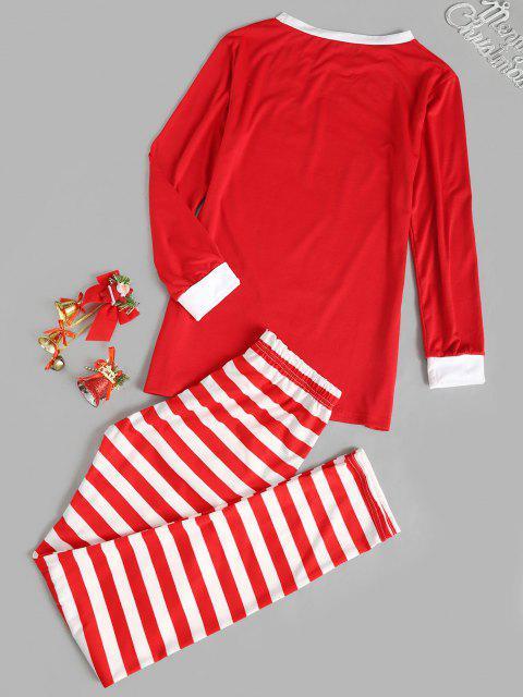 womens Contrast Stripes Comfy Christmas Pajama Set - RED M Mobile