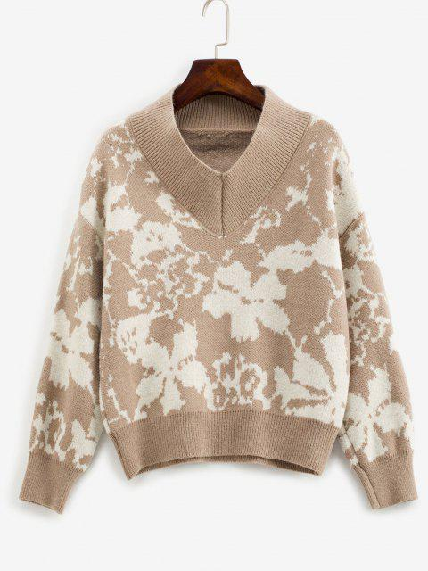 online V Neck Loose Abstract Graphic Sweater - COFFEE ONE SIZE Mobile
