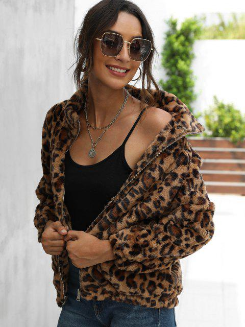 Leopard Pocket Fluffy Zip Up Jacket - القهوة العميقة S Mobile