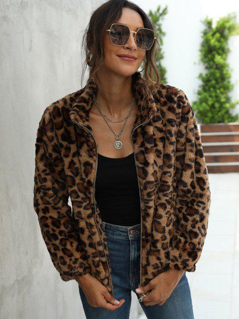 womens Leopard Pocket Fluffy Zip Up Jacket - DEEP COFFEE L Mobile