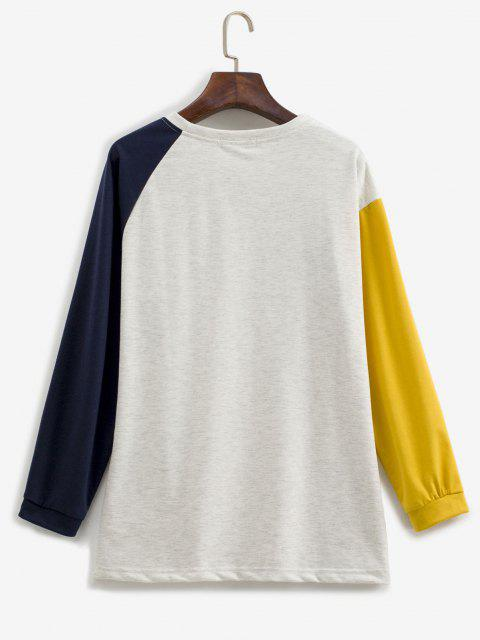 outfits Contrast Sleeve Color Blocking Sweatshirt - MULTI M Mobile