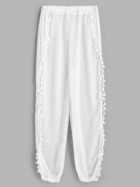 women's Tassels Chiffon Split Beach Pants - WHITE ONE SIZE Mobile
