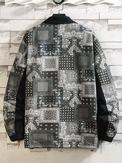 lady Paisley Scarf Print Button Up Jacket - BLACK M Mobile