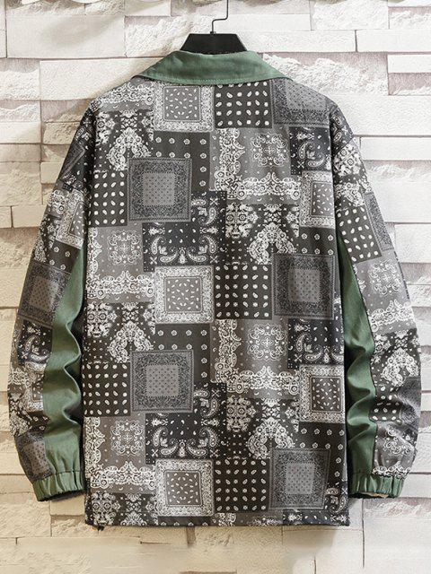 Veste Echarpe Cachemire Imprimé Boutonnée - Vert Armée  L Mobile