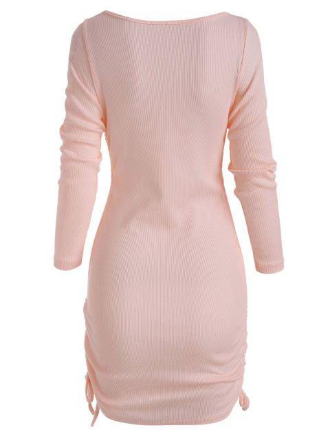 outfits Rib-knit Side Cinched Ruched Slinky Dress - LIGHT PINK L Mobile