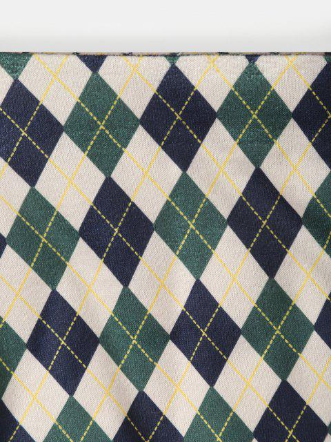 best ZAFUL Front Slit Slinky Argyle Mini Skirt - DEEP GREEN S Mobile