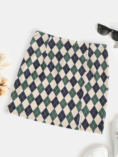 lady ZAFUL Front Slit Slinky Argyle Mini Skirt - DEEP GREEN XL Mobile