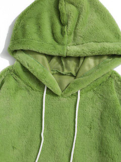 Flauschige Kunstpelz Hoodie mit Känguru Tasche - Hellgrün M Mobile