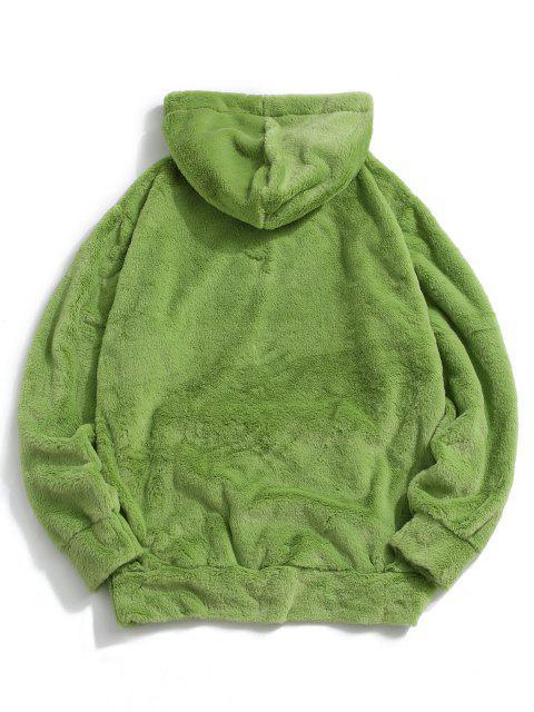 shop Contrast Kangaroo Pocket Fluffy Faux Fur Hoodie - LIGHT GREEN M Mobile