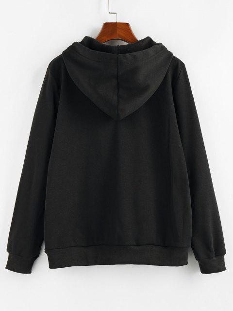 latest ZAFUL Flame Unruly Graphic Kangaroo Pocket Hoodie - BLACK M Mobile