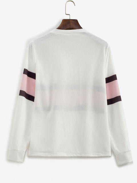 Contrast Striped Pullover Basic Sweatshirt - أبيض XL Mobile