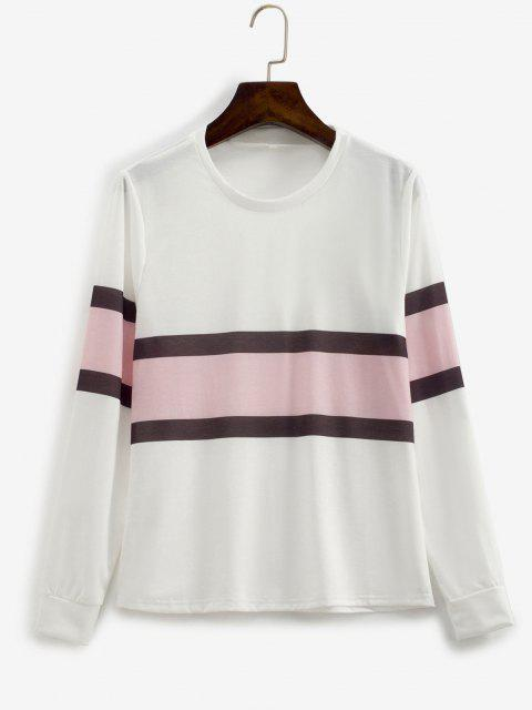 hot Contrast Striped Pullover Basic Sweatshirt - WHITE L Mobile