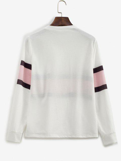 sale Contrast Striped Pullover Basic Sweatshirt - WHITE M Mobile