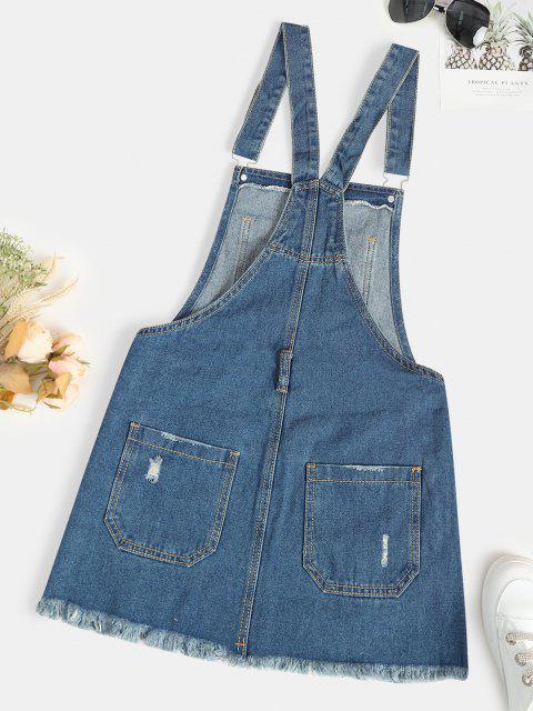 affordable Distressed Frayed Denim Pinafore Dress - LIGHT BLUE S Mobile