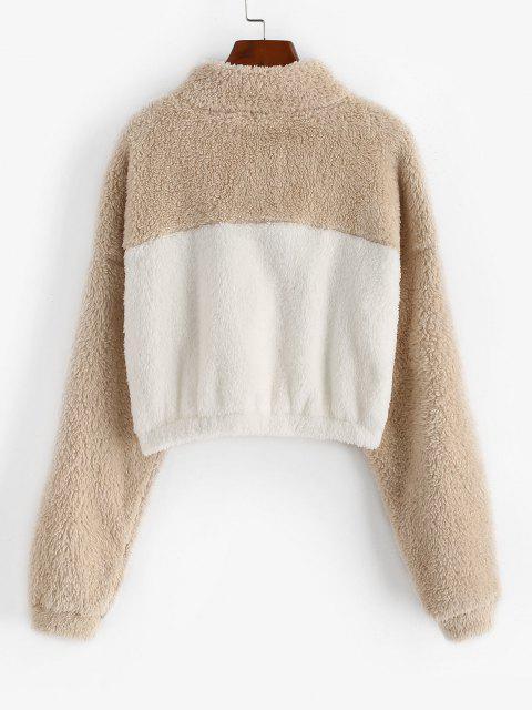 Two Tone Drop Shoulder Half Zip Fluffy Sweatshirt - القهوة الخفيفة L Mobile