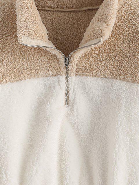 fashion Two Tone Drop Shoulder Half Zip Fluffy Sweatshirt - LIGHT COFFEE M Mobile