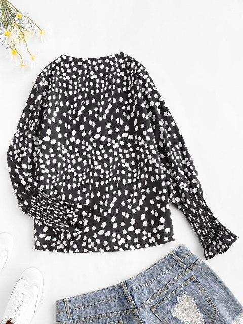 best Dots Pattern Smocked Poet Sleeve Blouse - BLACK L Mobile