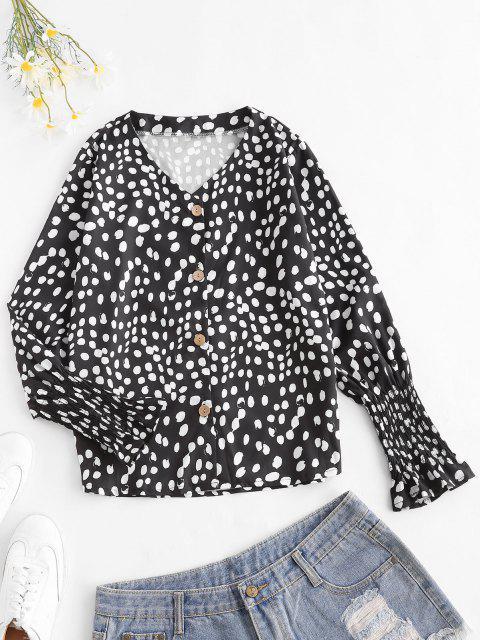 affordable Dots Pattern Smocked Poet Sleeve Blouse - BLACK S Mobile