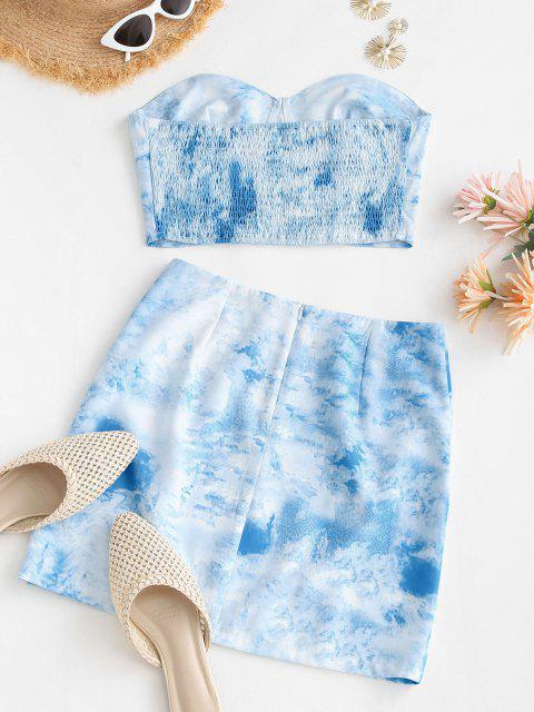 ladies Tie Dye Smocked Back Slit Two Piece Dress - LIGHT BLUE M Mobile