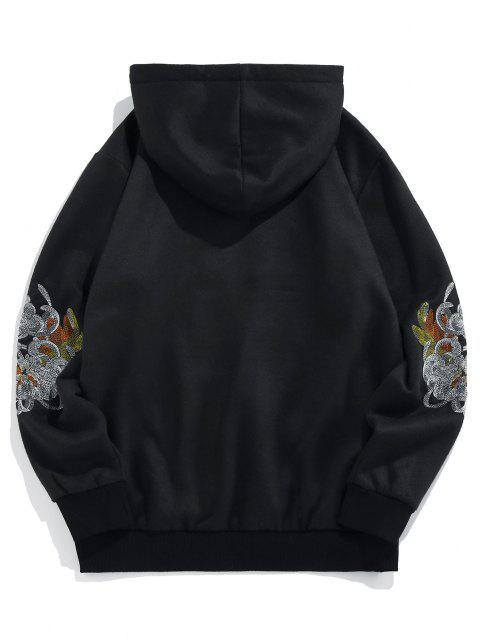 ZAFUL Sweat à Capuche Fleur Brodée en Laine - Noir XL Mobile