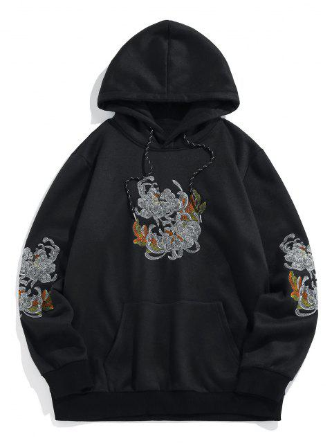 shop ZAFUL Flower Embroidered Fleece Hoodie - BLACK 2XL Mobile
