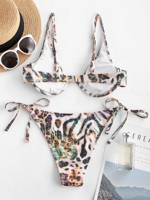 shop ZAFUL Disco Tiger Leopard Coated String Bikini Swimwear - BLACK S Mobile