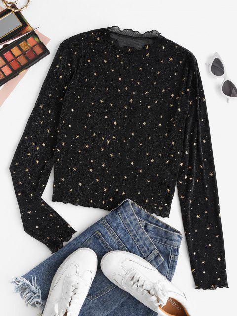 trendy ZAFUL Semi Sheer Mesh Shiny Stars Print Metallic Top - BLACK M Mobile