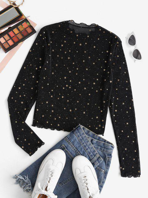 online ZAFUL Semi Sheer Mesh Shiny Stars Print Metallic Top - BLACK S Mobile