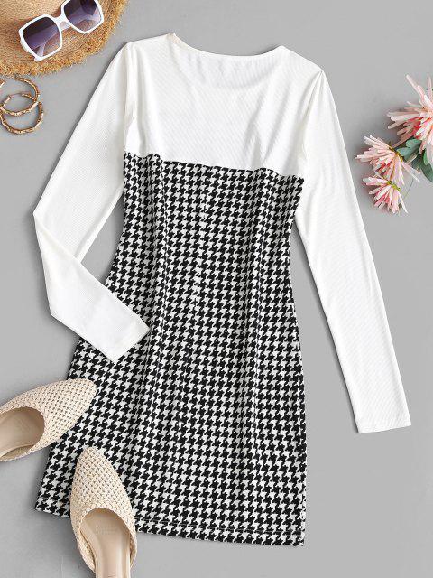 ZAFUL Bodycon Patchwork Kleid mit Seitlichem Schlitz - Schwarz XL Mobile