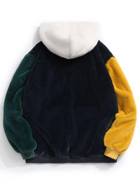 Flauschige Kunstpelz Hoodie mit Känguru Tasche - Tiefes Blau L Mobile
