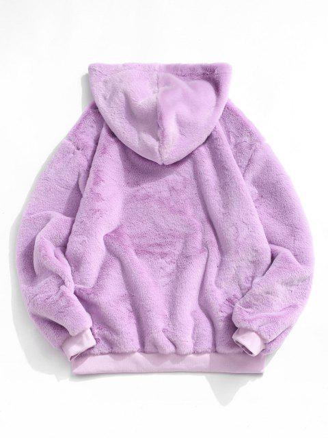 shop Kangaroo Pocket Faux Fur Fluffy Pullover Hoodie - LIGHT PURPLE M Mobile