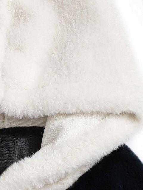 Flauschige Kunstpelz Hoodie mit Känguru Tasche - Tiefes Blau M Mobile
