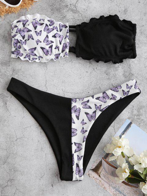 best ZAFUL Ribbed Butterfly Lettuce Bandeau Bikini Swimwear - BLACK S Mobile