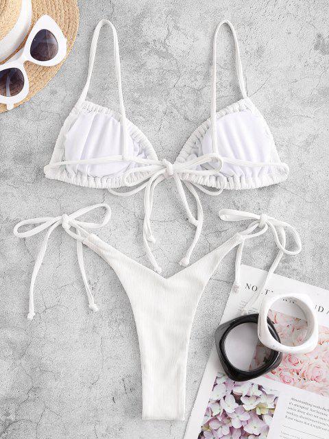 ZAFUL Bikini de Tie-dye con Cordones - Blanco L Mobile