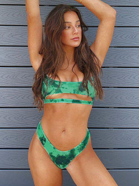 affordable Jessica Stockstill X ZAFUL Tie Dye Ribbed Underboob Cheeky Bikini Swimwear - GREEN L Mobile