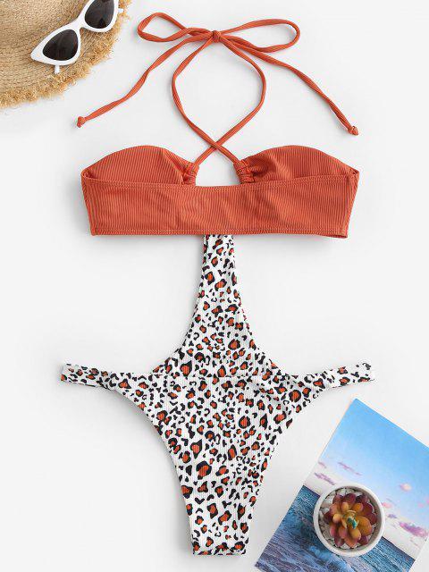 Monokini Traje de Baño Acanalado de Leopardo - Naranja S Mobile