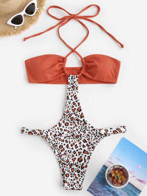 ZAFUL Halter Gerippter Leopard Monokini Smocked das Trendige Leopardenmuster und Einen Verführerischen Minilängenschnitt - Orange XL Mobile