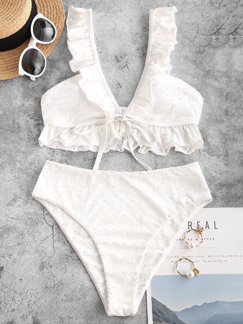 ZAFUL Öse Blumen Jacquard Rüsche Tankini Badebekleidung mit Hoher Taille - Weiß XXL Mobile