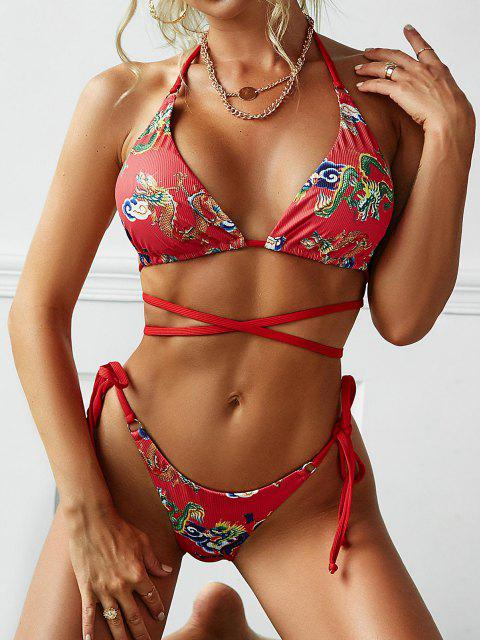 fashion ZAFUL Rings Chinese Dragon Print Ribbed Wrap-tie String Bikini Swimwear - RED S Mobile