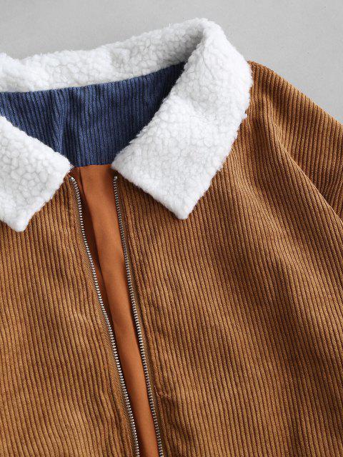 hot Ethnic Borg Collar Corduroy Jacket - COFFEE M Mobile