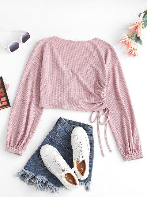 ZAFUL Laterne Ärmel Plunge T-Shirt - Rose M Mobile
