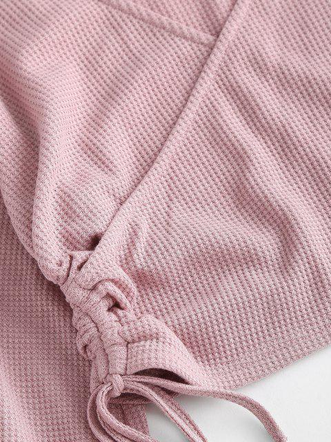 latest ZAFUL Lantern Sleeves Plunge Cinched Surplice Tee - ROSE S Mobile