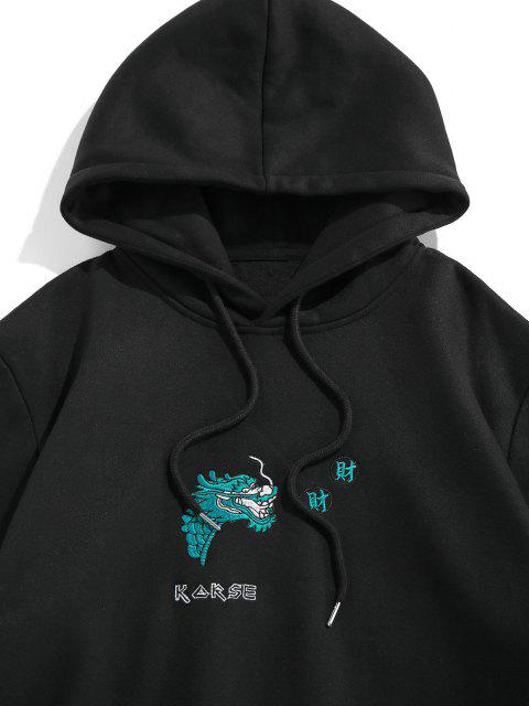 women ZAFUL Dragon Embroidered Fleece Graphic Hoodie - BLACK S Mobile
