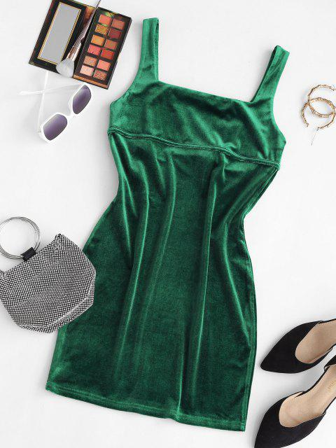 fancy ZAFUL Square Neck Velvet Mini Bodycon Dress - DEEP GREEN S Mobile