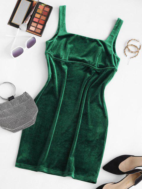 online ZAFUL Square Neck Velvet Mini Bodycon Dress - DEEP GREEN M Mobile