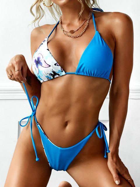 trendy ZAFUL Reversible Dragon Butterfly Print Tie Dye Halter String Bikini Swimwear - BLUE M Mobile