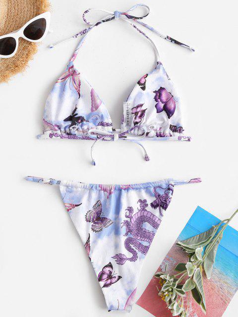 shop ZAFUL Ribbed Butterfly Tie Dye Multi-way Tanga Bikini Swimwear - LIGHT BLUE M Mobile