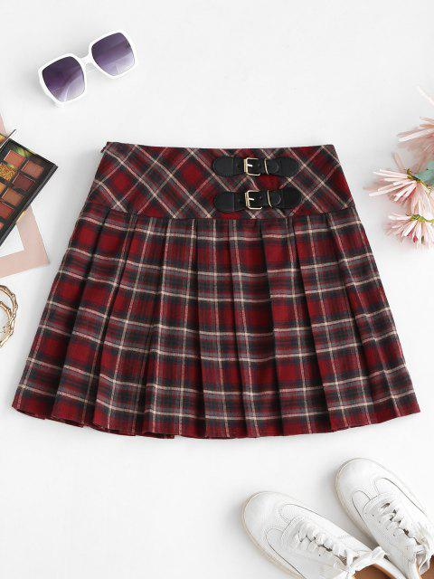 ZAFUL Preppy Buckle Mini Pleated Skirt - كستنائي أحمر M Mobile