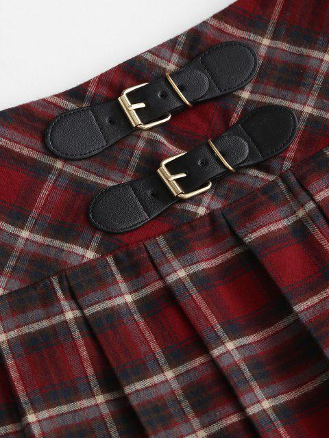 womens ZAFUL Preppy Buckle Mini Pleated Skirt - CHESTNUT RED M Mobile