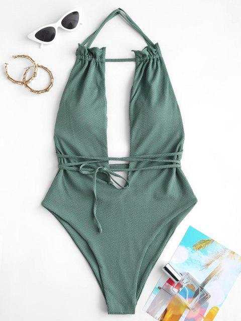 ladies ZAFUL Textured Ruffle Plunge Front One-piece Swimsuit - DEEP GREEN M Mobile